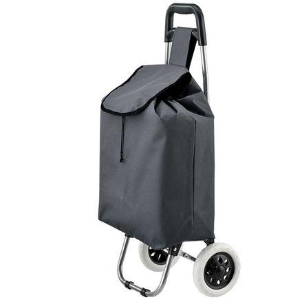 Koliesková nákupná taška Meran skladacia, sivá, s veľkými kolieskami