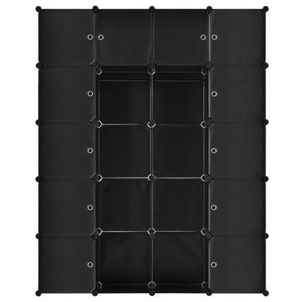 Šatníková skriňa s 20 variabilnými boxmi v čiernej farbe