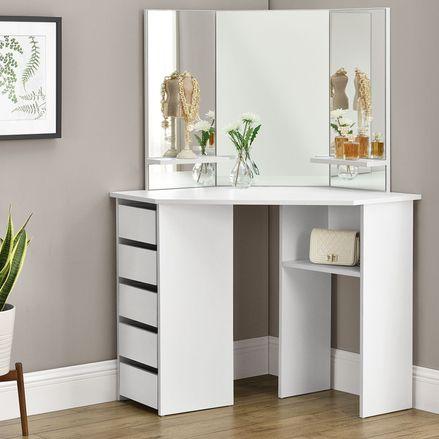 """Toaletný stolík """"Nova"""" biely so zrkadlom, bez taburetky"""